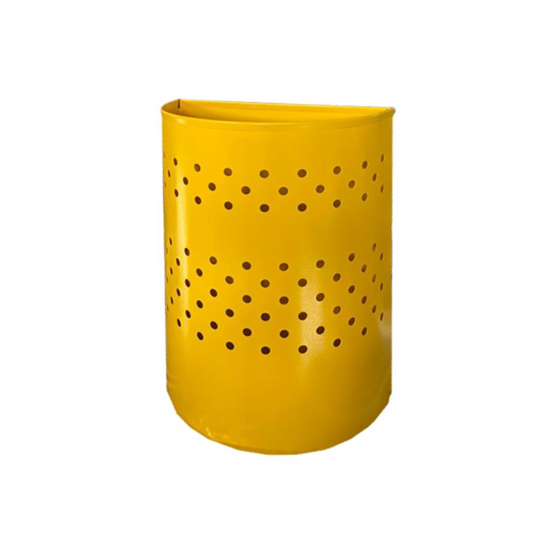 Металлическая урна для бумаг с перфорацией желтая